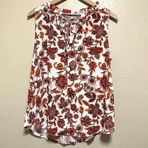 Loft mixed material floral sleeveless blouse